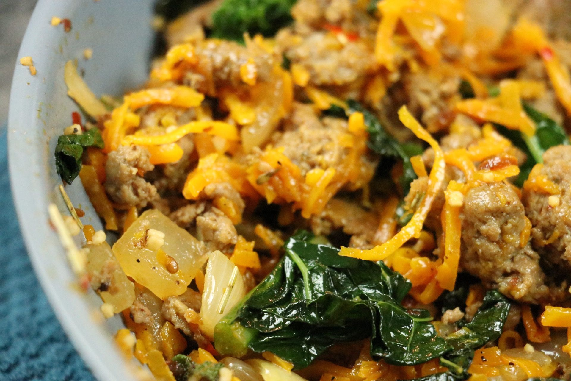 Spiralized Butternut Squash With Kale & Sausage - Forkly