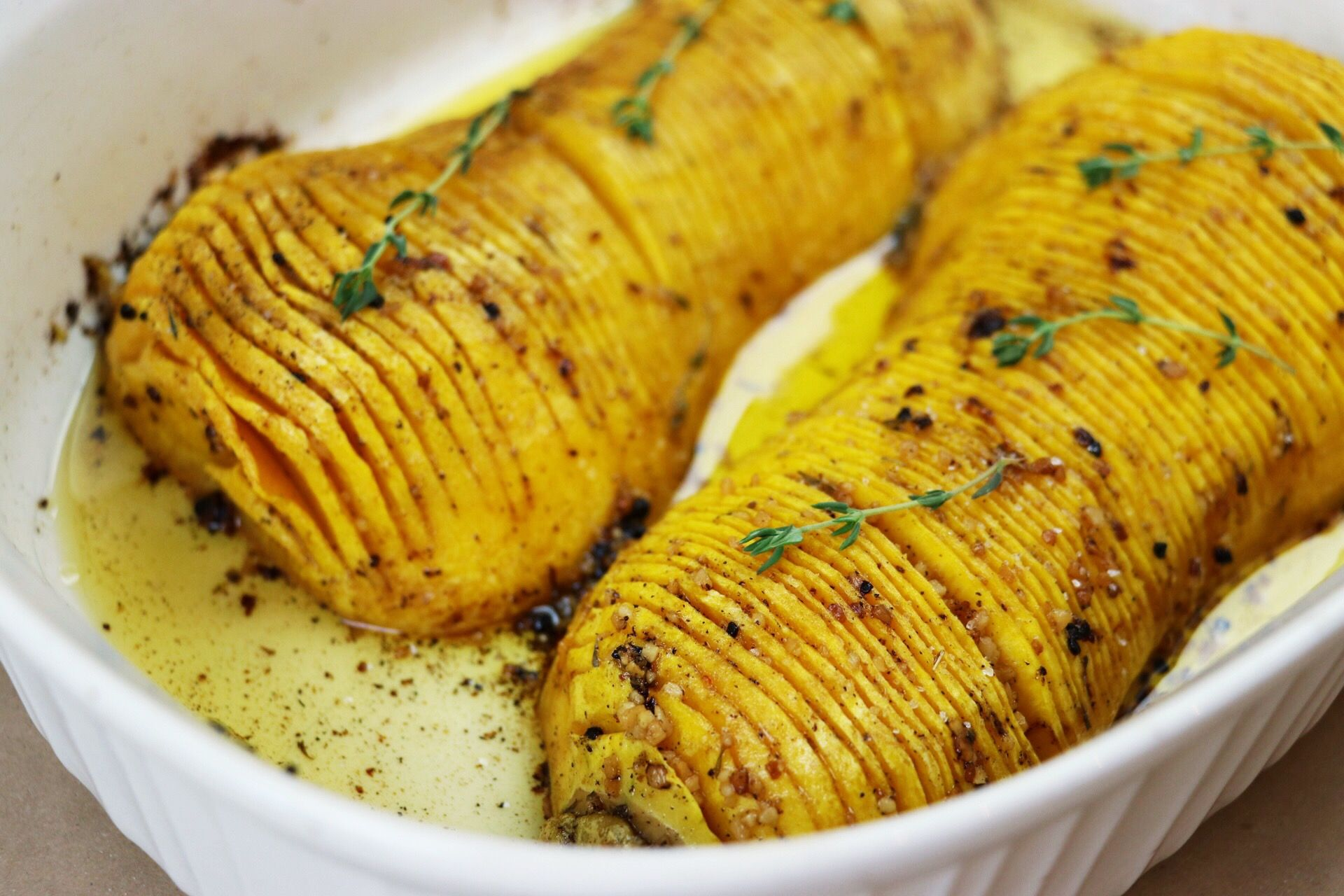 Hasselback Butternut Squash Roasted Side Dish - Forkly